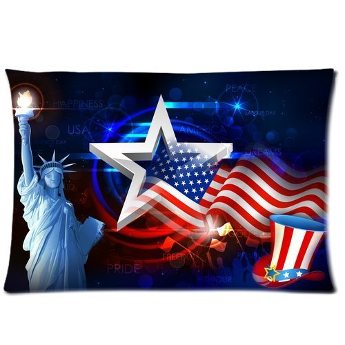 Butuku Personalized Statue Of Liberty With American Flag Rectangle Soft Pillow Case Standard Size 20X30 front-753705