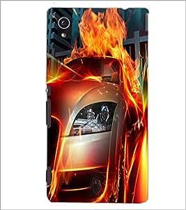 PrintDhaba Burning Car D-2044 Back Case Cover for SONY XPERIA M4 AQUA (Multi-Coloured)