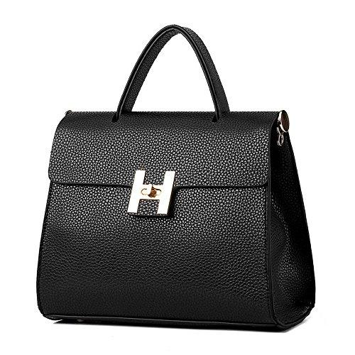 koson-man-womens-vintage-buckle-sling-tote-bags-top-handle-handbagblack