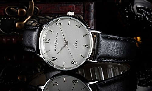 Bergmann Brand Vintage Mens Watches Silver Dial Black Leather Wrist Watch Classic 1953 4