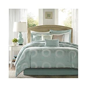 Modern Contemporary Seafoam Blue Comforter Bedding Set with Pillows (King)