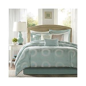 Modern Contemporary Seafoam Blue Comforter Bedding Set with Pillows (King)