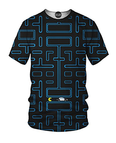 On Cue Apparel Pac Man T-Shirt – All Over Print Graphic Rave Shirts – Medium