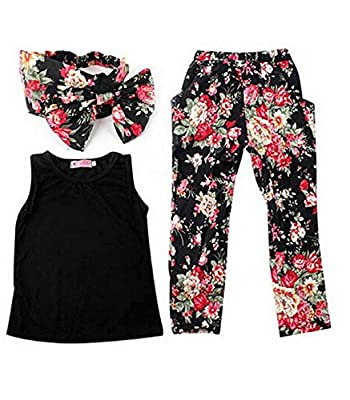 Jastore® Girls Sets 3PCS Sleeveless Shirt/Tops + Floral Pants + Headband Clothes