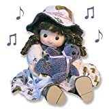 Old Fashioned Musical Girl Rag Doll with Motion Wind Up Toy - Sarah - Fabric Material Grapes Pattern Dress Brown Curly Hair Hat - Holding her Purple Teddy Bear - Collectible Keepsake Unique Birthday Gift for Daughter Granddaughter from Mom or Grandma