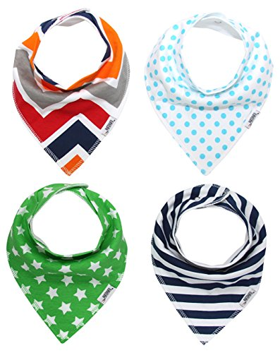 Matimati Baby Bandana Drool Bibs with Snaps for Boys | 4-Pack Absorbent Cotton | Unique Baby Gift Set