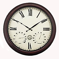 Maytime Outdoor Antique Retro Wall Clock with Thermometer and Humidity,15-Inch Traditional Bronze Finished