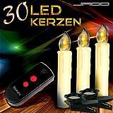 30er-Set-LED-Baumkerzen-Kerzenlichter-Weihnachtskerzen-3-verscheidene-Lichtmodifikationen-kabellos-beige