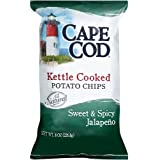 Cape Cod Potato Chips, Kettle Cooked, Sweet & Spicy Jalapeno, 8 oz, (pack of 3)