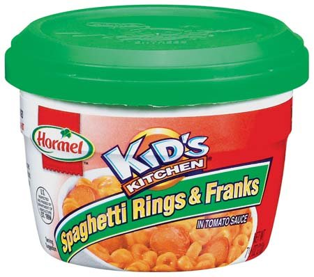 Hormel Kid'S Kitchen Microwave Cup Spaghetti Rings & Franks In Tomato Sauce - 12 Pack