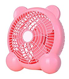 Generic Quiet USB Desk Fan Bear Shaped 7 inches Pink