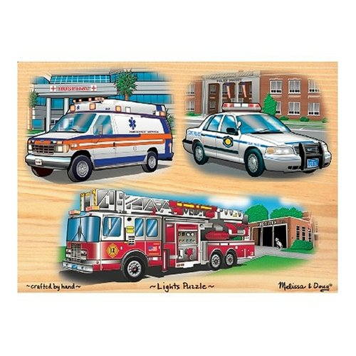 Cheap Fun Melissa & Doug Deluxe Wooden Emergency Vehicles Light and Sound Peg Puzzle (B000BXKN4E)