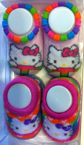 Hello Kitty Baby Booties Socks Peace Multi-Colored, 2 Pair 0-12 Months.