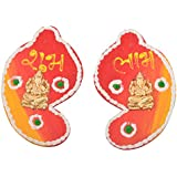 999Store Handmade Multicolour Wooden Shubh Labh Diwali Door Hanging Shankh