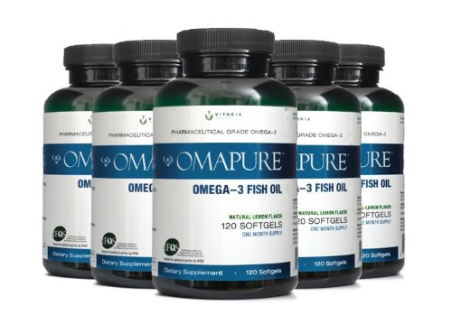 Omapure Pharmaceutical Grade Omega-3 Fish Oil (5 Bottles; 120 Softgels) | Made With Ifos 5-Star Certified Fish Oil