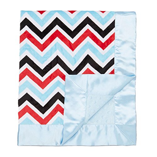 "My Blankee Chevron Minky Multi Red w/ Minky Dot Blue Baby Blanket, 30"" x 35"""