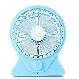 Adjustable speed Mute Portable Office desk USB Mini Fan Cooler sky blue