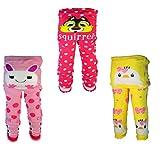 [backbuy] 3pantalones infantil Leggings de niña 0-24meses bebé pantalones punto pantalones d1d2h1 Talla:18-24 meses