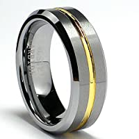 8MM 18K Gold Plated Tungsten Ring Wedding Band Size 8