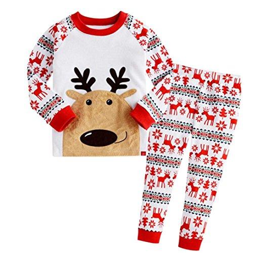 FEITONG 2Pcs Infant Little Boys Girls Christmas Deer T-shirt Tops+ Pants Set (3T / 3Years, Red)