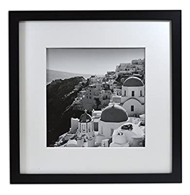 Golden State Art, Smartphone Instagram Frame Collection, 12x12-inch Square Photo Wood Frames with Photo Mat & Real Glass for 8x8-inch Pictures, Black