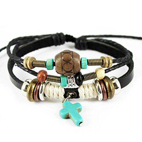 Time Pawnshop Retro Cross Pendant Wood Beads Multilayer Adjustable Unisex Bracelet