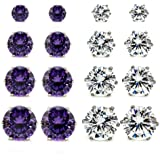 8 Pairs 2 Mixed Color in 4 Sizes (4mm, 6mm, 7mm, 8mm) Wholesale Lot Stainless Steel Round Cubic Zirconia Stud Earrings, Hypoallergenic, Nickel-free, Lead-free
