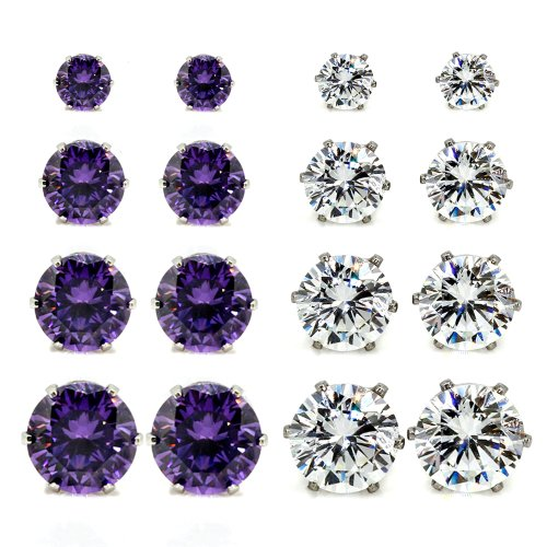 8 Pairs 2 Mixed Color in 4 Sizes (4mm, 6mm, 7mm, 8mm) Wholesale Lot Stainless Steel Round Cubic Zirconia Stud Earrings, Hypoallergenic, Nickel-free, Lead-free (Amethyst Purple + White)