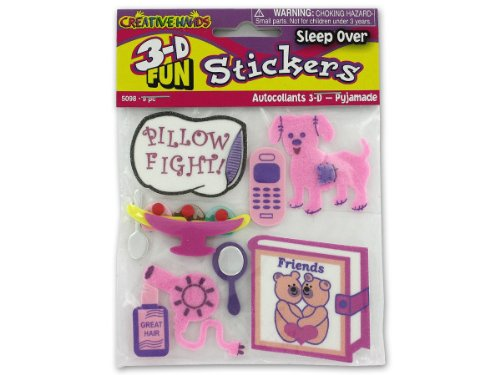 3-D Sleep Over Theme Stickers - Case of 72