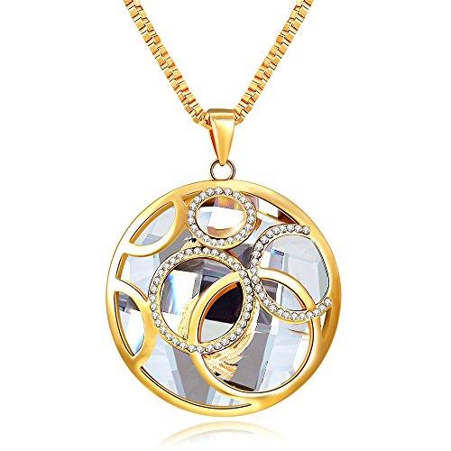 City Ouna® Vintage Retro in lega collana creativa con moda austriaco di cristallo Swarovski Elements gioielli maglia lunga catena cerchio e cerchio collana per dono di donne ragazze