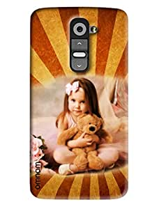 Omnam Cute Girl holding teddy in hand back cover for LG G2