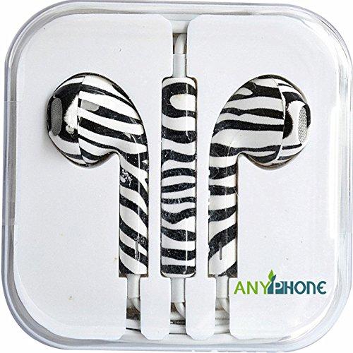 Anyphone- For Iphone4 5 Ipad3 4 Ipod Headphone Headset Earphone Earbud Volume Remote+Mic Colorful Animal Stripes (3 Zebra Stripe)