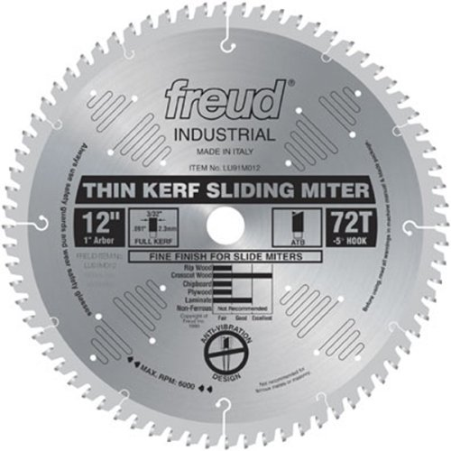 Freud LU91M012 12-Inch 72 Tooth ATB Thin Kerf Sliding Miter Saw Blade with 1-Inch Arbor (Radial Arm Saw Table compare prices)