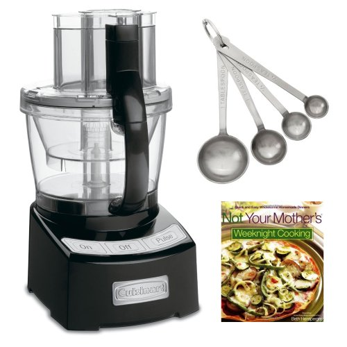 Review Cuisinart FP-12BK Elite Collection 12-cup Food Processor Black + Stainless Steel Measuring Spoons, 4-Piece Set + Cook Book  Review
