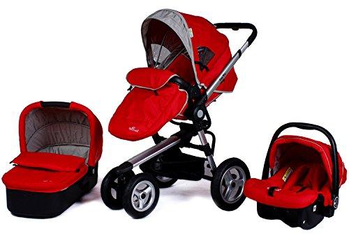 Aluminum-Frame-Baby-Stroller-3-in-1PushchairSleeping-BasketCar-SeatUse-4-Pneumatic-Wheels-Red