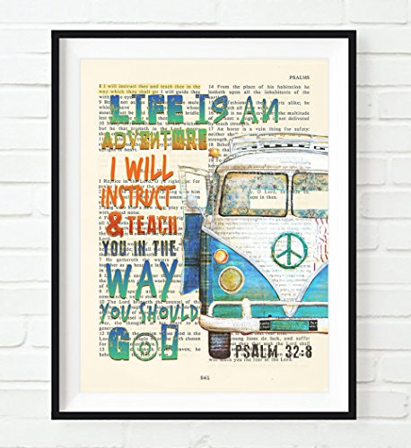 Psalm 32:8-Life is an Adventure - Vw Volkswagen Bus Van Vintage Bible verse scripture wall ART PRINT, UNFRAMED, Christian home decor poster, Christmas gift (Vintage Vw compare prices)