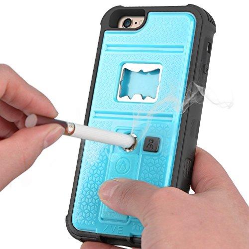 ZVE iPhone6 ケースplus アイフォン6S plus ケース ライター 栓抜き カメラ三脚機能付き ケース5.5インチ 耐衝撃 カバー(ブルー)