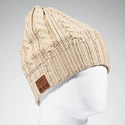 Tenergy Wireless Bluetooth Hands-Free Beanie w/ Cable Knit - Color Tan (built-in stereo speakers and microphone for calls)