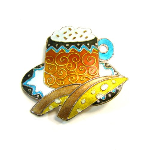Cappuccino Coffee and Biscotti Enamel Over Sterling Pin / Brooch