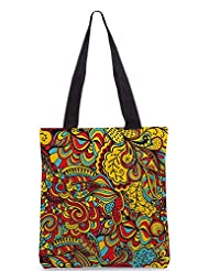 Snoogg Vector Seamless Texture With Abstract Flowers Endless Background Ethnic Sea Designer Poly Canvas Tote Bag - B012FZV68M