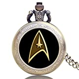 Inspire Jewelry Hot Fashion Movie Theme Star Trek Pocket Watch Pendant Necklace Clock Quartz Watch Cosplay Accessory