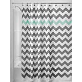 InterDesign Chevron Shower Curtain 72 by 72-Inch Gray/Aruba