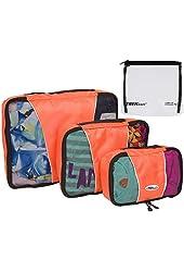 TrekReady Travel Packing Cubes? High Quality Set of 3 - Plus Bonus TSA 3-1-1 Clear Liquids Bag