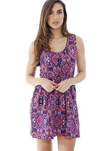 AMZ5946-MGT-S Just Love Short Dress / Summer Dresses for Juniors, Purple Paisley Dress, Small