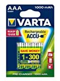 Varta Ready2Use Rechargeable Micro Ni-Mh AAA Batteries 1000 mAh Pack of 4