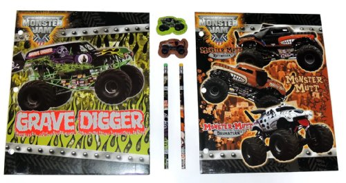 Hot Wheels Monster Jam Grave Digger and Monster Mutt 6 Piece Pocket Folder Set with Matching Pencils and Erasers - 1