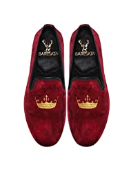 Bareskin Crown Special Mens Handmade Maroon Velvet Slipon With Embroidery - Limited Edition(Made On Order)