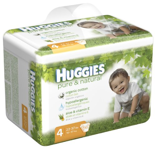 Huggies Pure & Natural Diapers, Size 4, 56-Count (Pack of 2)