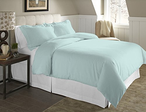 Pointehaven 2-Piece 200 GSM Flannel Duvet Cover Set, Twin/Twin X-Large, Solid, Lagoon (Flannel Duvet Cover Twin compare prices)