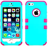myLife Hot Pink and Teal - Colorful Robot Series (Neo Hypergrip Flex Gel) 3 Piece Case for iPhone 5/5S (5G) 5th Generation iTouch Smartphone by Apple (External 2 Piece Fitted On Hard Rubberized Plates + Internal Soft Silicone Easy Grip Bumper Gel)